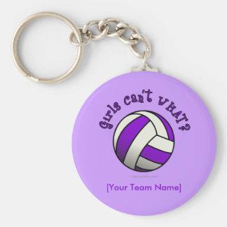 Purple Volleyball Key Chain