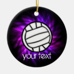 Purple Volleyball Round Ceramic Decoration