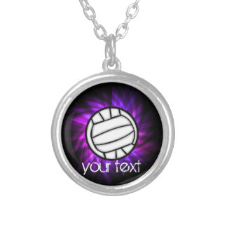 Purple Volleyball Round Pendant Necklace
