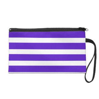 Purple w White Stripe Custom Design Cosmetic Purse Wristlet Clutch