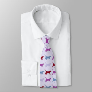 Purple Walking Cat Pattern Tie