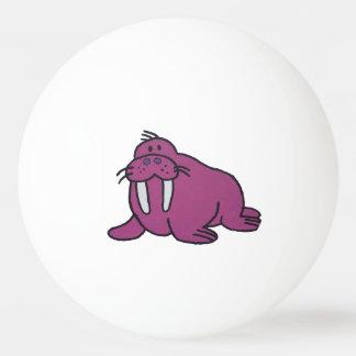 Purple Walrus Cartoon Drawing Ping Pong Ball
