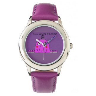 purple watch with fun character and heading
