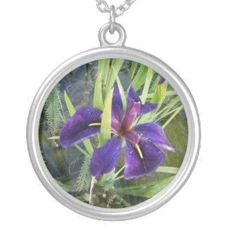 Purple Water/Black Gamecock Iris Round Pendant Necklace