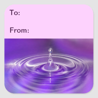 Purple Water Drop Gift Tag Stickers