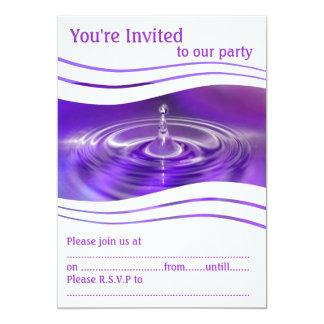Purple Water Droplet 13 Cm X 18 Cm Invitation Card