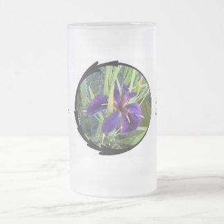Purple Water Iris Bride Frosted Glass Mug