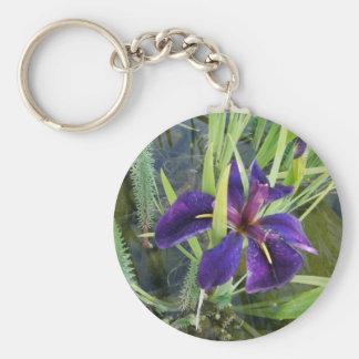 Purple Water Iris Keychain
