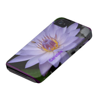 Purple Water Lily & Bee Custom Name iphone 4 Cover