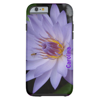 Purple Water Lily & Bee Custom Name iPhone 6 case Tough iPhone 6 Case