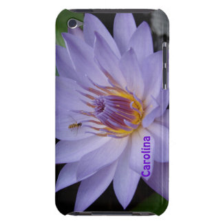 Purple Water Lily & Bee Custom Name ipod Touch Barely There iPod Case