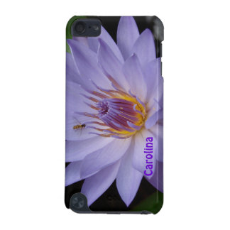Purple Water Lily & Bee Custom Name ipod Touch iPod Touch (5th Generation) Covers