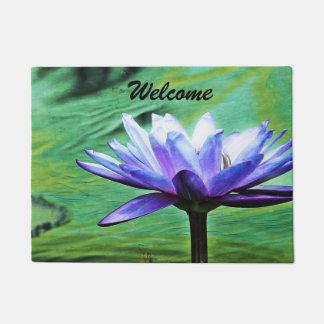 Purple Water Lily Door Mat