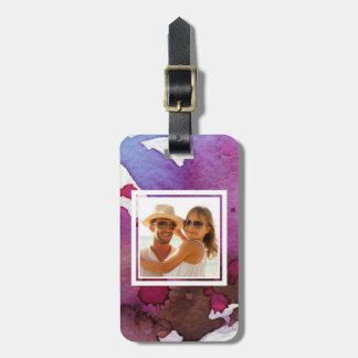 Purple Watercolor | Add your Name Luggage Tag