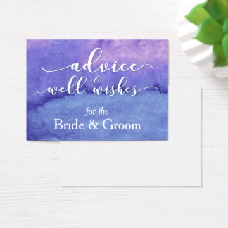 """Purple Watercolor """"Advice for the Bride & Groom"""" Business Card"""