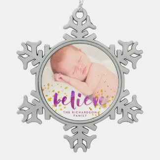 Purple Watercolor and Gold Believe | Photo Pewter Snowflake Decoration