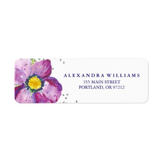 Purple Watercolor Anemone Flower Silver Glitter Return Address Label