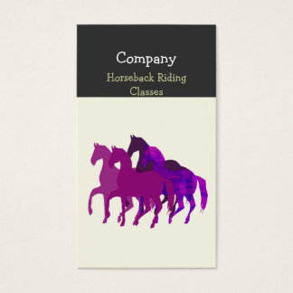 Purple Watercolor Artistic  Horse  Racing Business Card