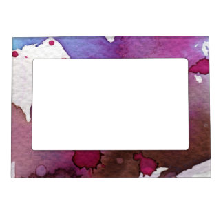 Purple Watercolor Background Frame Magnet