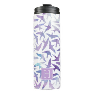 Purple Watercolor Birds Pattern Thermal Tumbler