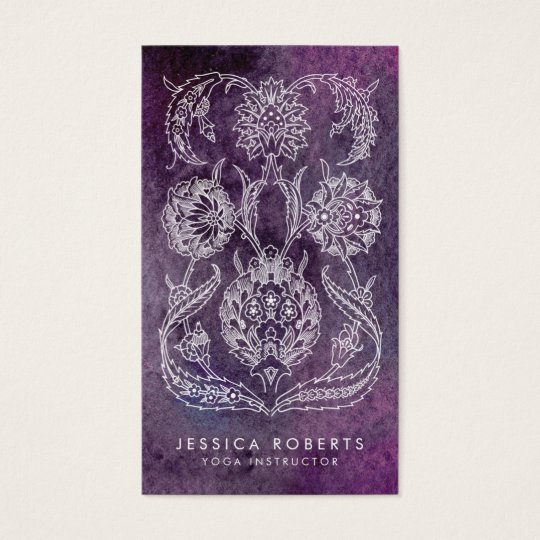 Purple Watercolor Bohemian Floral Trendy Business Card