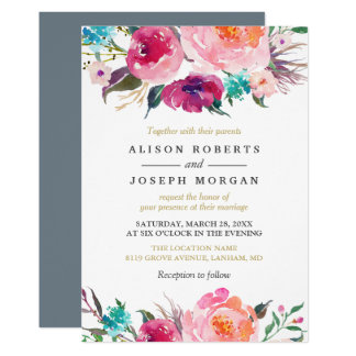 Purple Watercolor Botanical Wedding Invitation