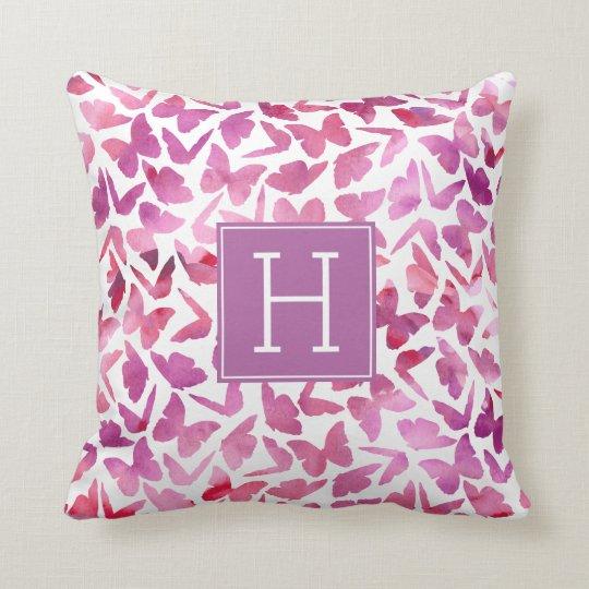 Purple Watercolor Butterflies Monogrammed Cushion