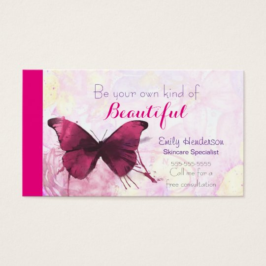 Purple Watercolor Butterfly on Pink and Yellow Business