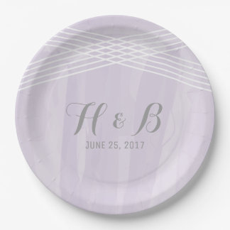 Purple Watercolor Deco Wedding 9 Inch Paper Plate
