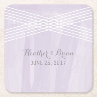 Purple Watercolor Deco Wedding Square Paper Coaster