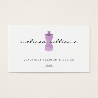 Purple Watercolor Dress Mannequin Fashion Boutique Business Card
