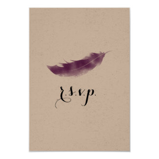 Purple Watercolor Feather Wedding RSVP Card