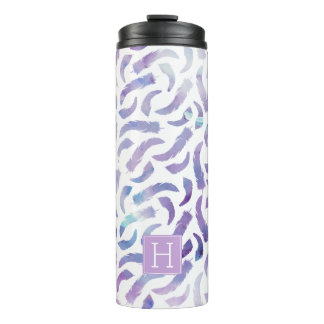Purple Watercolor Feathers Pattern Thermal Tumbler