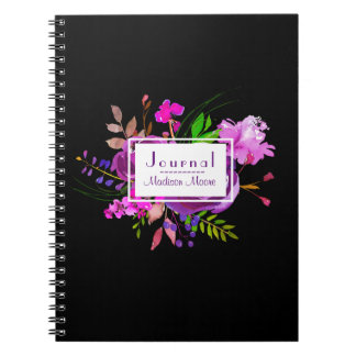 Purple Watercolor Floral Bouquet Journal/ Spiral Notebook