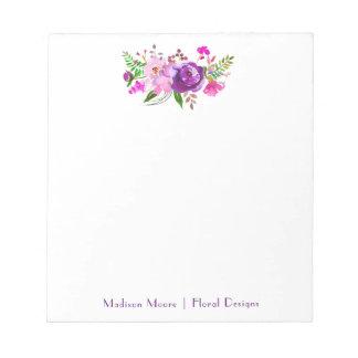 Purple Watercolor Floral Bouquet Notepads