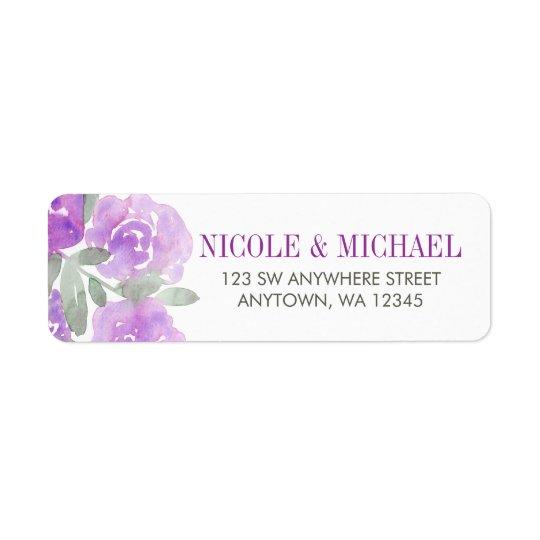 Purple Watercolor Floral Garden Return Address Label