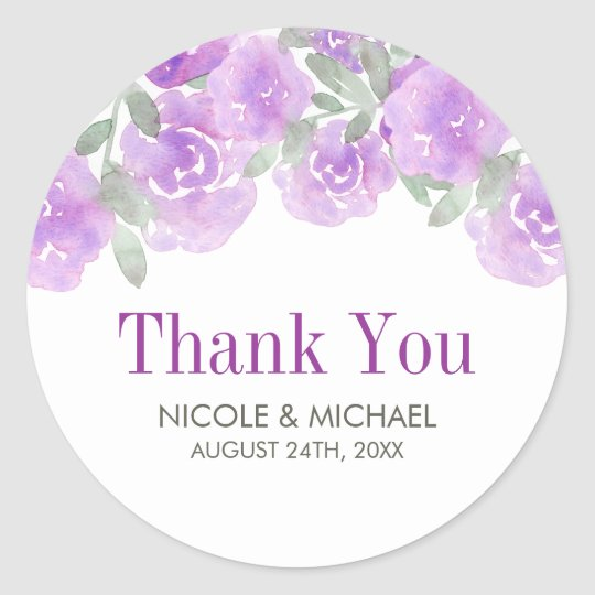 Purple Watercolor Floral Garden Wedding Classic Round Sticker
