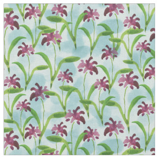 Purple Watercolor Floral Pattern Fabric