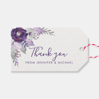 Purple Watercolor Floral Wedding Gift Tag