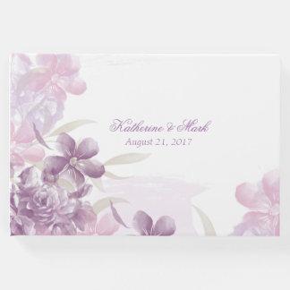 Purple Watercolor Floral Wedding Guest Book