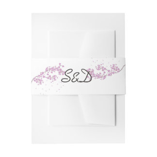 Purple Watercolor Floral Wedding Monogram Invitation Belly Band