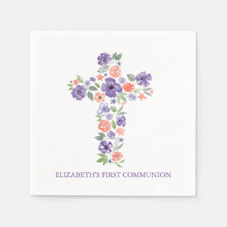 Purple Watercolor Flowers Cross First Communion Disposable Napkin
