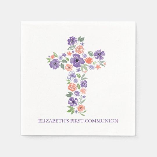 Purple Watercolor Flowers Cross First Communion Disposable Napkin