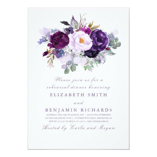 Purple Watercolor Flowers Rehearsal Dinner Card