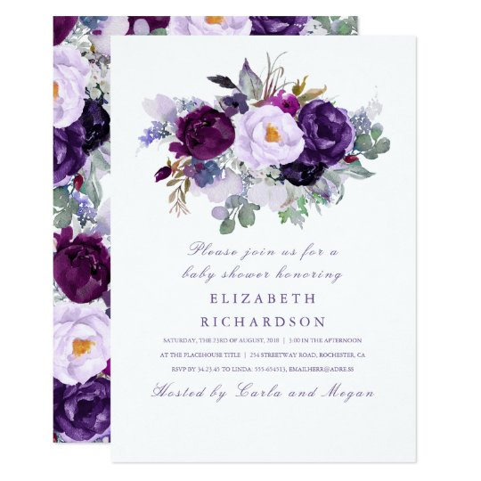 Purple Watercolor Flowers Romantic Baby Shower Card