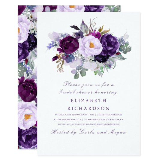 Purple Watercolor Flowers Romantic Bridal Shower Card