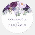 Purple Watercolor Flowers Romantic Classic Round Sticker