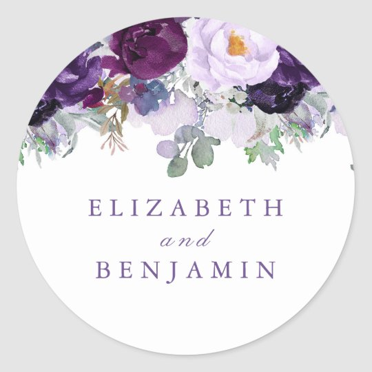 Purple Watercolor Flowers Romantic Classic Round Sticker