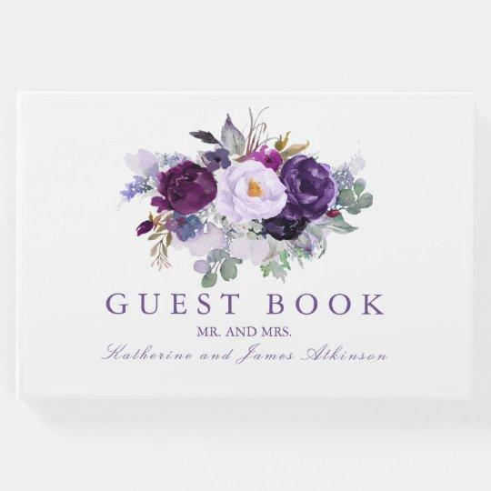 Purple Watercolor Flowers Wedding Guest Book