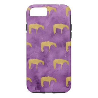 Purple Watercolor Golden Texture Western Horse iPhone 8/7 Case